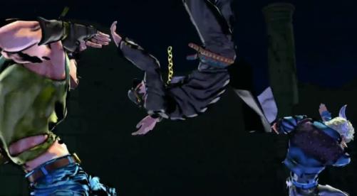 Ici Jotaro quelques secondes avant qu'il ne comprenne la puissance de l'onde due au tag combo de Caesar et Joseph
