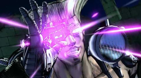 Ici Von Stroheim s'apprête à faire usage de son laser planqué dans son nonoeil